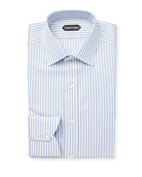 TOM FORD Men's Classic Small Collar Striped Dress Shirt