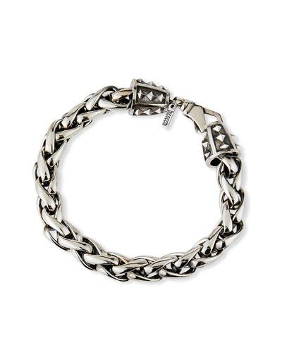 Men's Large-Link Wheat Chain Bracelet, Silver