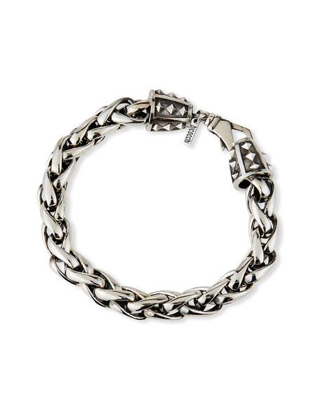 Emanuele Bicocchi Men's Large-Link Wheat Chain Bracelet, Silver
