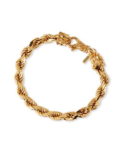 Men's French Rope Small Chain Bracelet, Golden