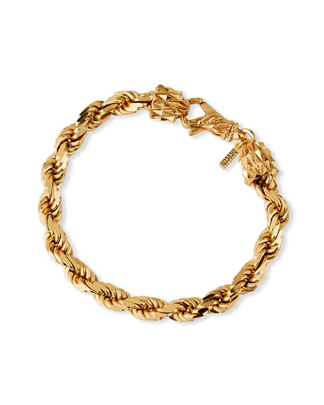 Emanuele Bicocchi Men's French Rope Small Chain Bracelet, Golden