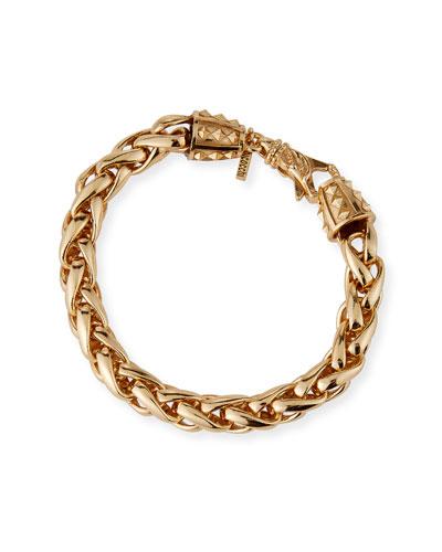 Men's Large-Link Wheat Chain Bracelet, Golden