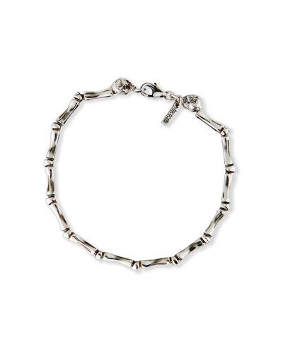 Men's Bone Chain Bracelet with Twin Skulls, Silver