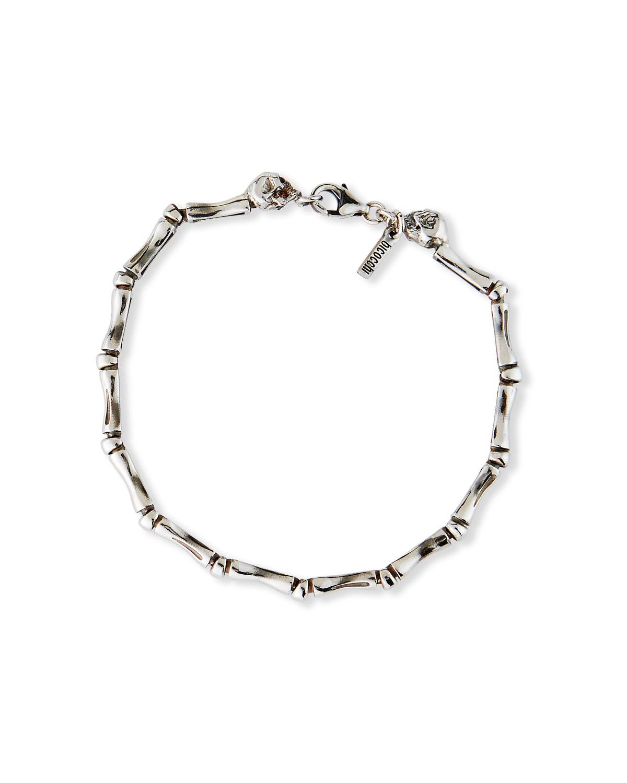Men's Bone Chain Bracelet with Twin Skulls