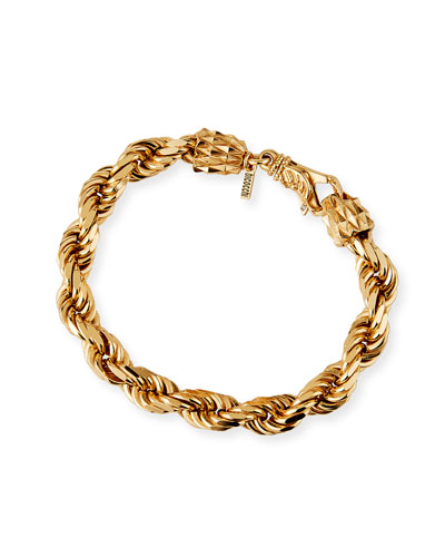 Men's French Rope Chain Bracelet, Golden
