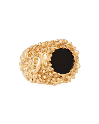 Men's Golden Textured Black Onyx Ring