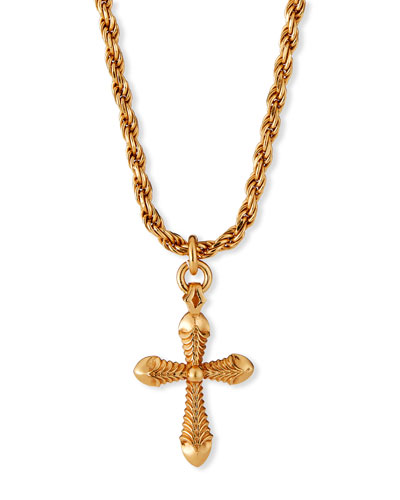 Men's Cross Pendant Necklace with French Rope Chain, Golden