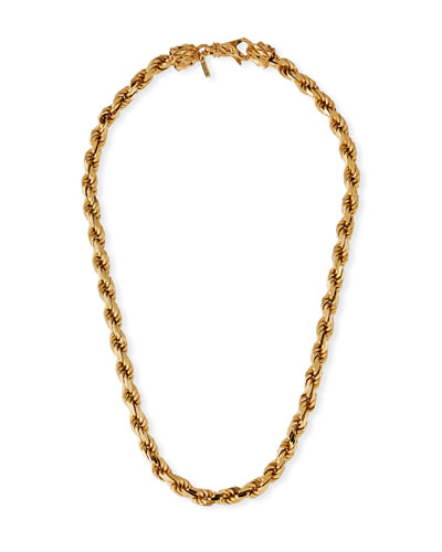Men's French Rope Chain Necklace, Golden