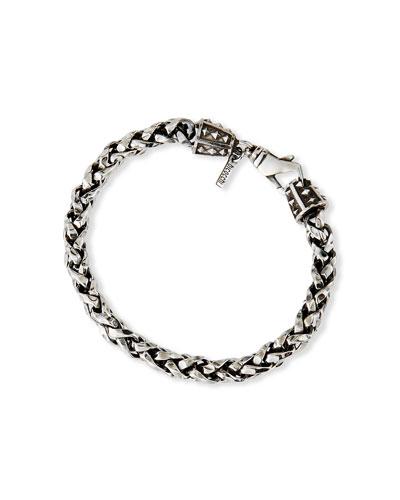Men's Sterling Silver Hammered Wheat Chain Bracelet