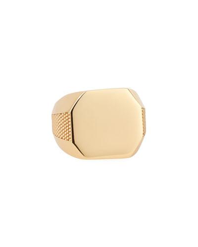 Men's Golden Octagon Signet Ring