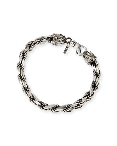 Men's French Rope Chain Bracelet, Silver