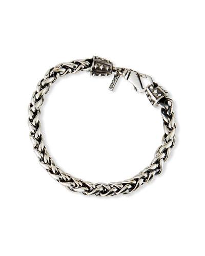 Men's Medium-Link Wheat Chain Bracelet, Silver