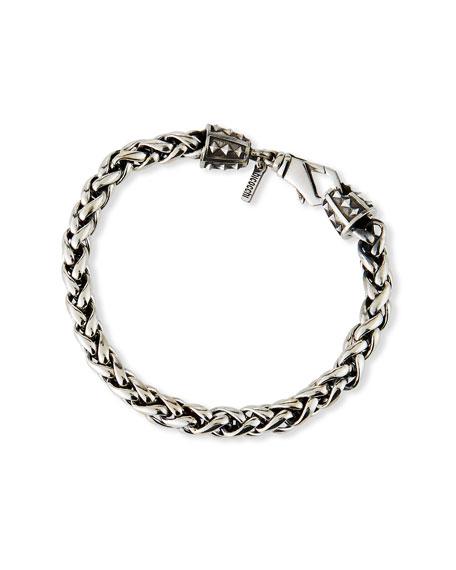 Emanuele Bicocchi Men's Medium-Link Wheat Chain Bracelet, Silver