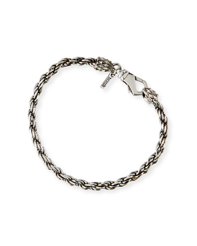 Men's Thin French Rope Chain Bracelet, Silver