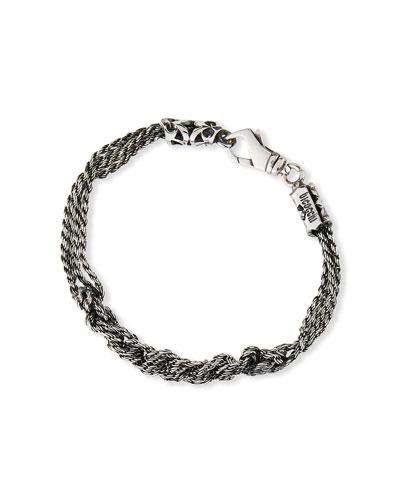 Men's Crocheted Rope Chain Bracelet, Silver
