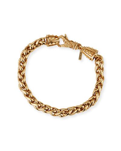 Men's Medium-Link Wheat Chain Bracelet, Golden