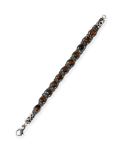 Men's Woven Tiger's Eye Chain Bracelet, Brown