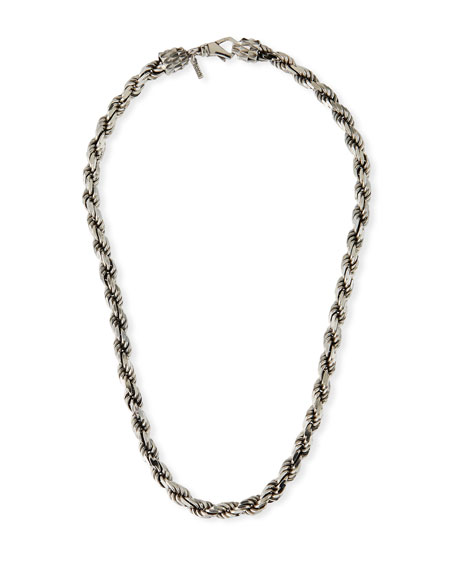Emanuele Bicocchi Men's French Rope Chain Necklace, Silver