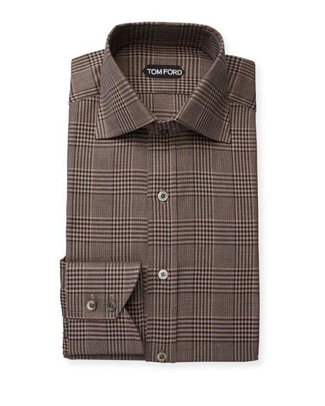 TOM FORD Men's Plaid Cotton Dress Shirt
