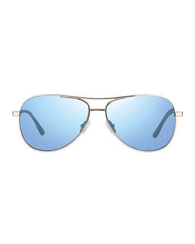 Men's Relay Polarized Metal Aviator Sunglasses, Golden