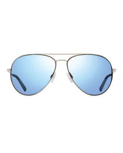Men's Spark Polarized Lightweight Metal Aviator Sunglasses, Golden