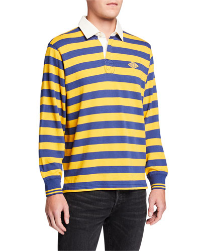 Men's Monogram Rugby Striped Long-Sleeve Polo Shirt