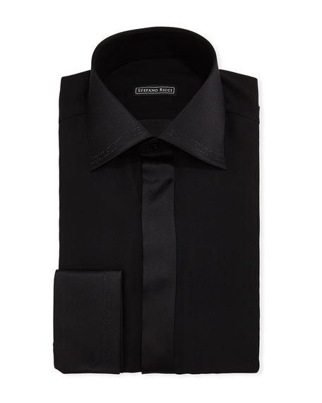 Stefano Ricci Men's Crystal-Tipped Silk Formal Shirt