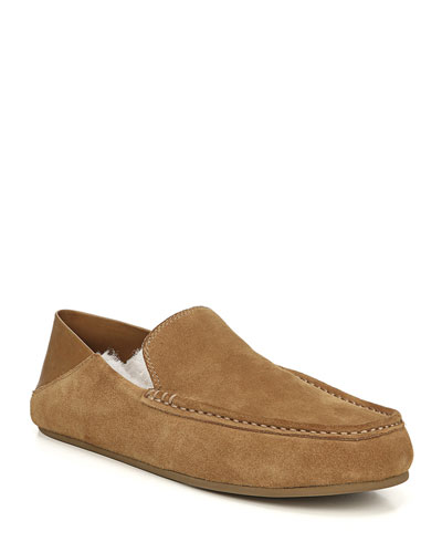 Men's Gino Lamb-Shearling & Suede Slippers