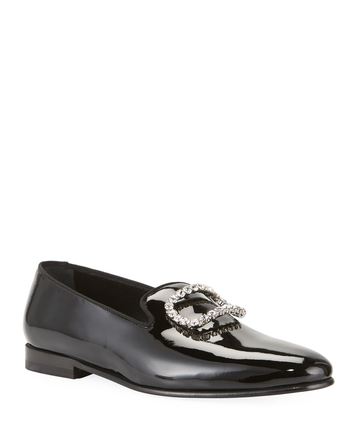 Manolo Blahnik Loafers MEN'S PATENT LEATHER JEWELED-BUCKLE LOAFERS