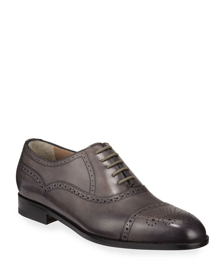 Manolo Blahnik Men's Witney Brogue Leather Oxford Shoes