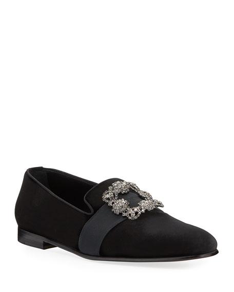 Manolo Blahnik Men's Carlton Suede Jeweled-Buckle Loafers