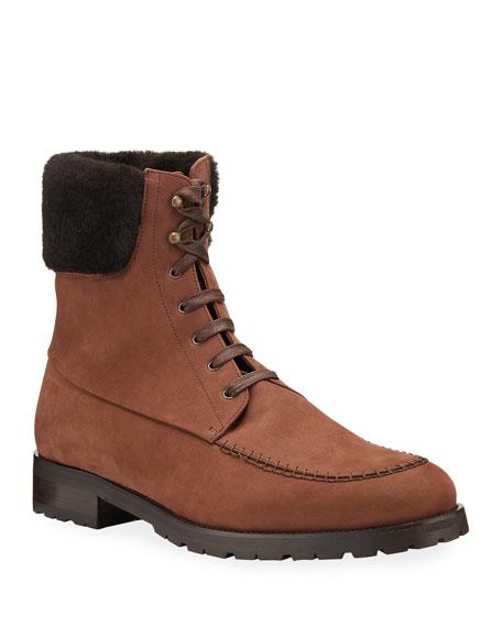 Manolo Blahnik Men's Bodolomite Shearling-Trim Hiking Boots