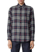 Burberry Men's Chambers Check Flannel Sport Shirt, Navy