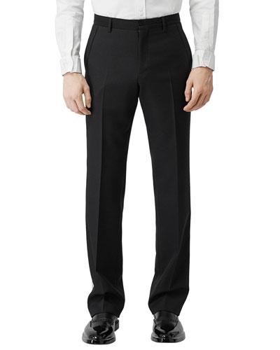 Men's Wool Tuxedo Trousers w/ Contrast Side Stripes