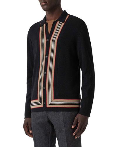 Men's Cashmere-Blend Stripe-Trim Cardigan