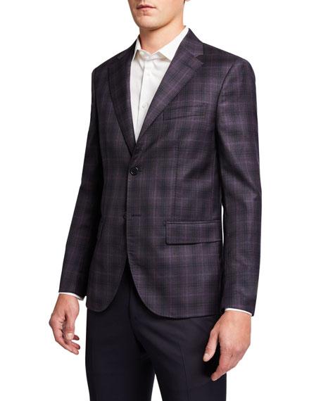 Santorelli Men's Modern Comfort Plaid Two-Button Jacket
