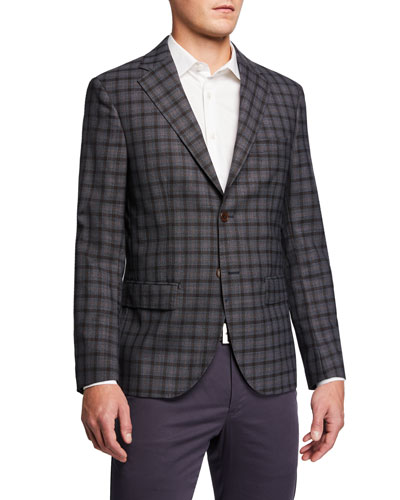 Men's Plaid Extrafine Wool Sport Coat