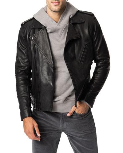 Men's Slim-Fit Leather Moto Jacket