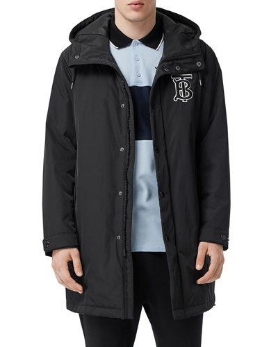Men's Nylon Long Hooded Varsity Jacket