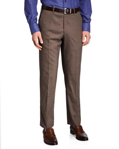 Santorelli Men's Natural Stretch-Wool Dress Pants
