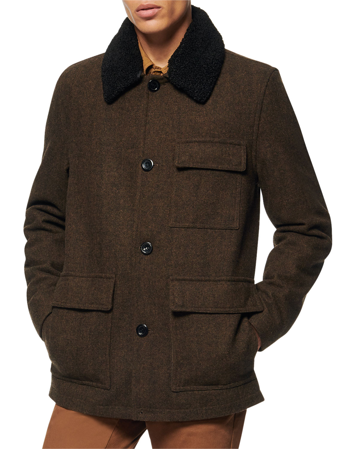 Men's Novelty Wool Chore Coat w/ Removable Faux-Shearling Collar