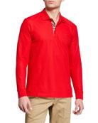 Burberry Men's Eddie Long-Sleeve Pique Polo Shirt, Red