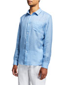 Derek Rose Men's Milan 6 Micro-Print Regular-Fit Linen