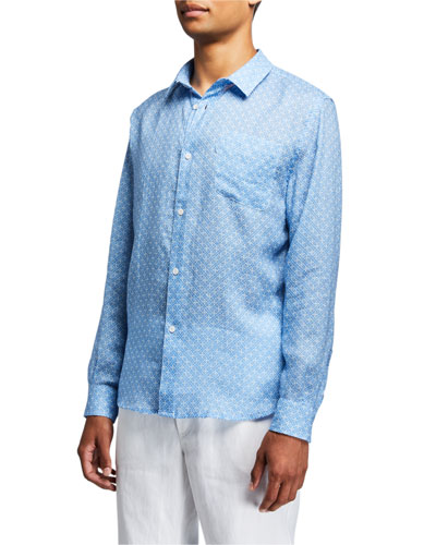 Men's Milan 6 Micro-Print Regular-Fit Linen Sport Shirt