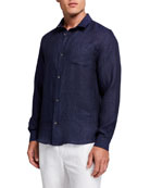 Derek Rose Men's Monaco 1 Linen Sport Shirt