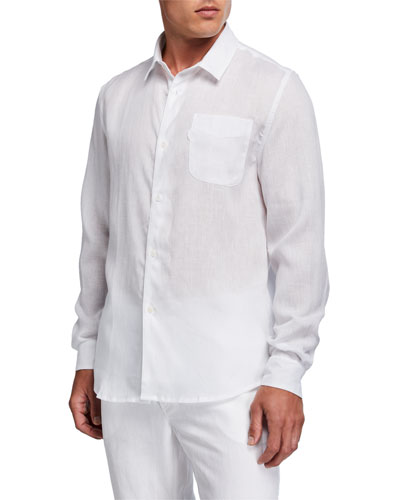 Men's Monaco Solid Linen Sport Shirt