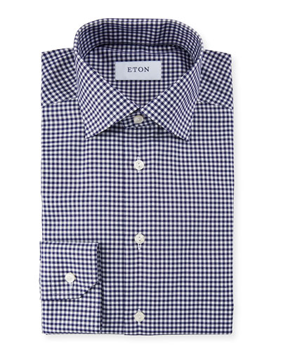 Men's Slim Fit Gingham Check Dress Shirt