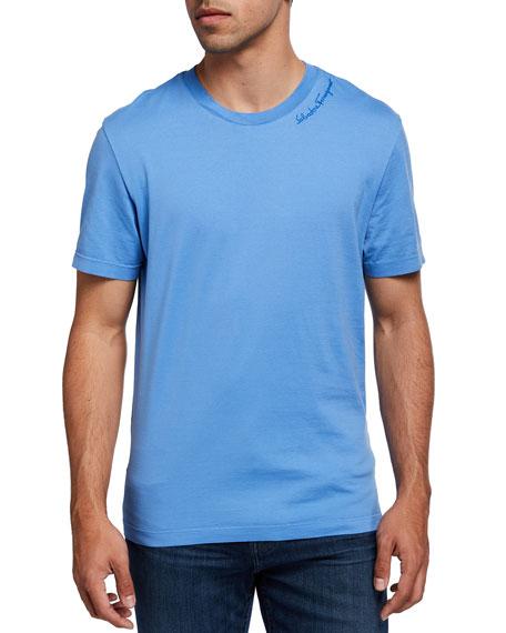 Salvatore Ferragamo Men's Embroidered Logo-Script T-Shirt