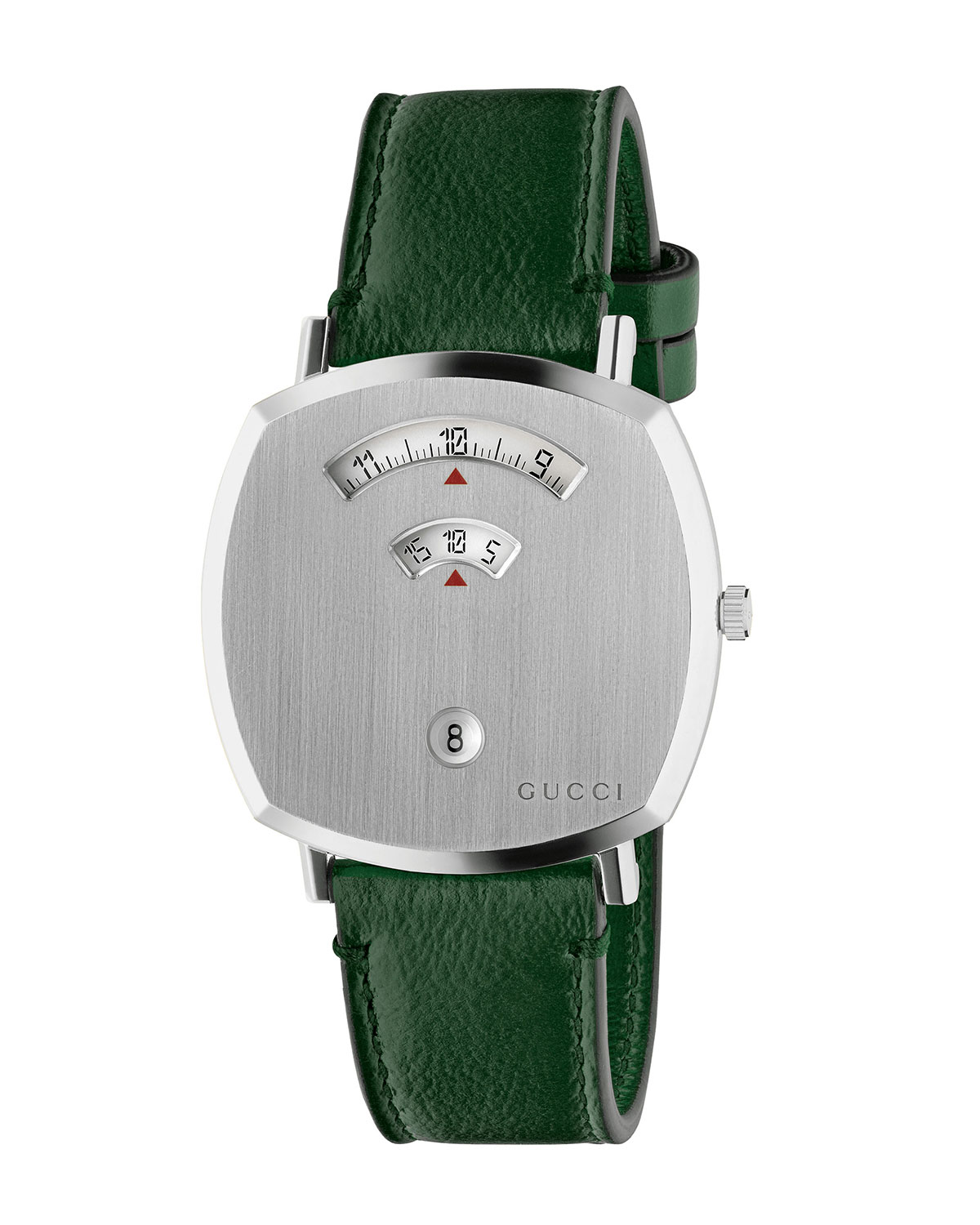 Grip Square 3-Window Watch with Leather Strap