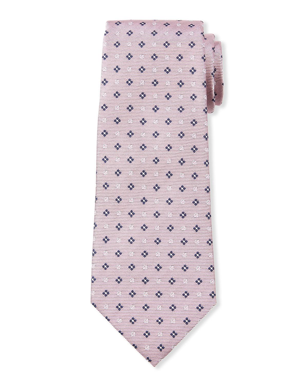 Men's Micro-Flowers & Circles Silk Tie